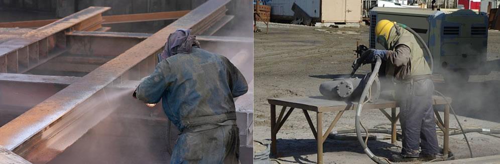 Sand blasting steel